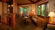 Living, dining and kitchen areas of Disney's Tree House Villa