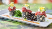 Yellowfin tuna tartare and tempura tuna-vegetable sushi roll with wakame and hijiki