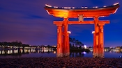 Nighttime view of Torii Gate at the edge of the World Showcase Lagoon at the Japan Pavilion