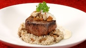 Filet mignon with mushroom risotto and white truffle-butter sauce
