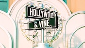 Close-up of the Hollywood & Vine street-sign-inspired sign