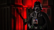 Darth Vader stands with his hands gripping his belt during the STAR WARS Dine-In Galactic Breakfast