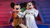 Jedi Mickey and Princess Leia Minnie await Guests at Jedi Mickey's STAR WARS Dine at Hollywood & Vine