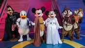 Darth Vader Goofy, Stormtrooper Donald, Jedi Mickey, Princess Leia Minnie and Ewoks Chip 'n' Dale