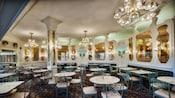 The dining area inside The Plaza Restaurant at Magic Kingdom park