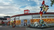 Exterior of the LEGO store with giant LEGO statue of Buzz Lightyear and Woody at Downtown Disney