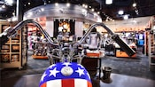 An American flag motorcycle at the Harley-Davidson store at Downtown Disney West Side