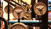 Close-up of 2 racks of free weights