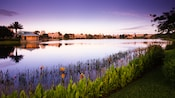 A view of Disney's Coronado Springs Resort from Lago Dorado at dawn