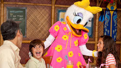 A girl in a princess gown has a special birthday part with her family and Chef Goofy at Goofy's Kitchen