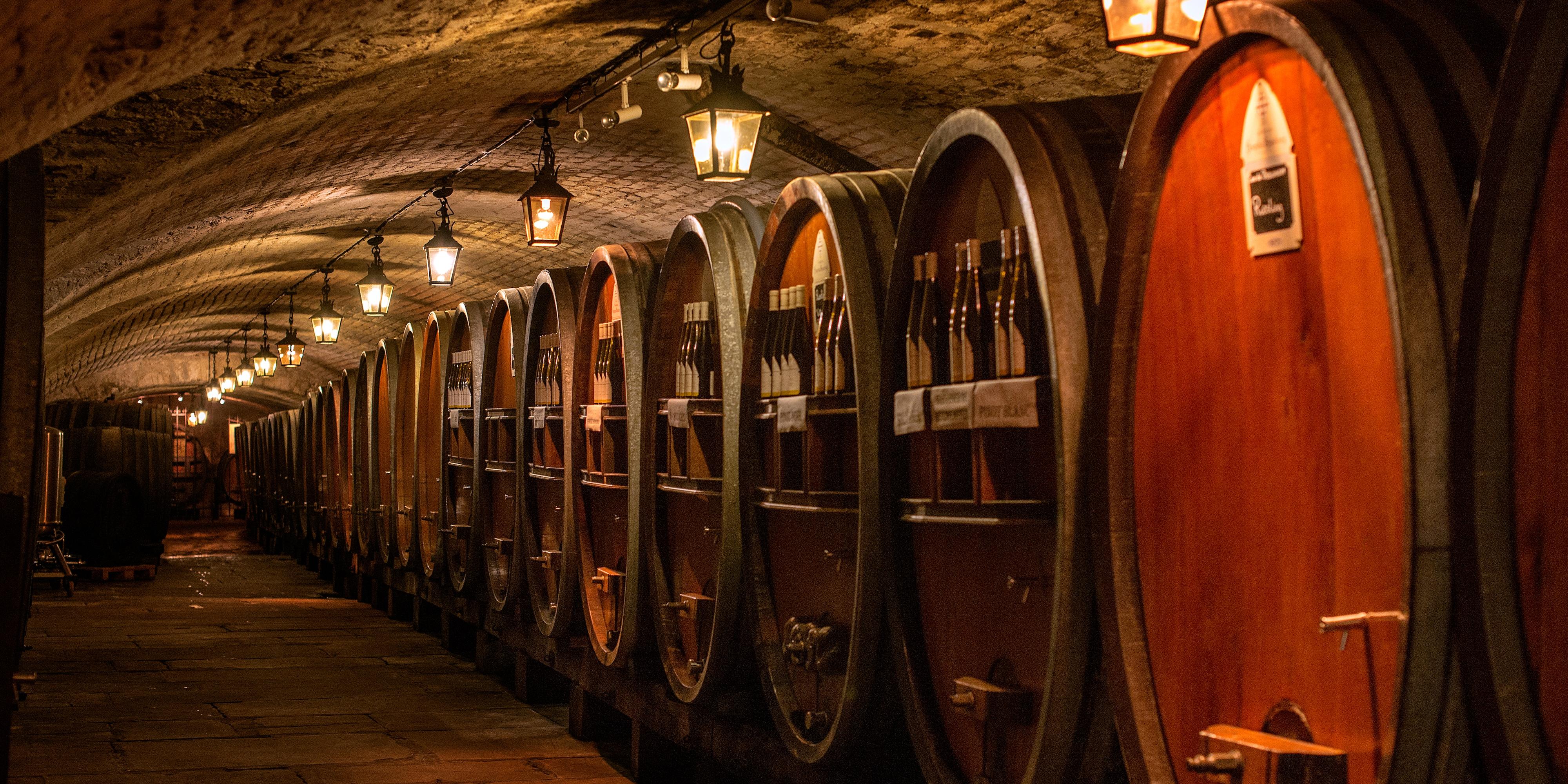 A row of wine barrels