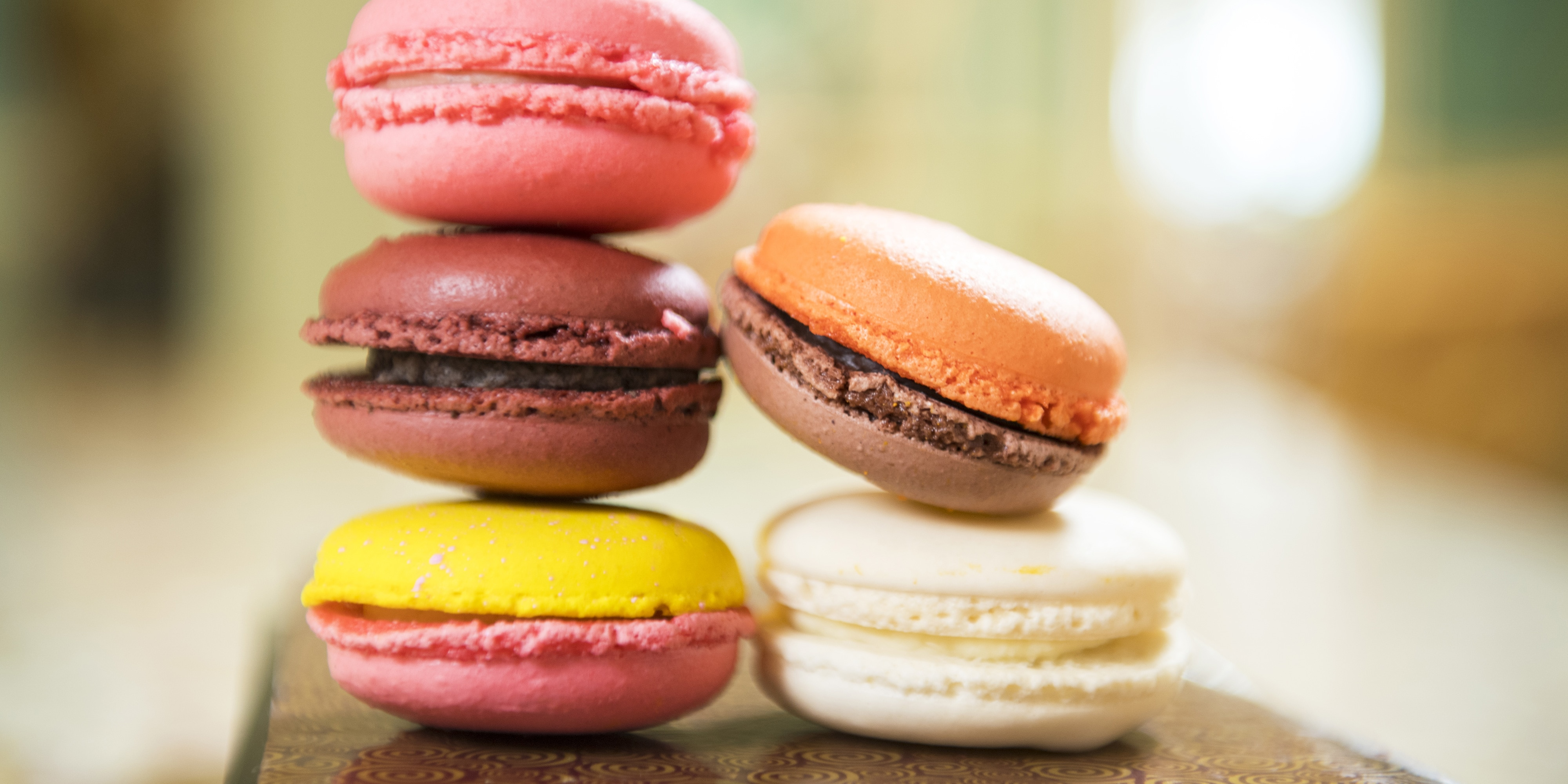 Two stacks of macarons, the popular French treat