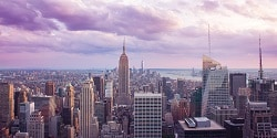 Take in the breathtaking skyline of Manhattan, featuring the towering Empire State Building.