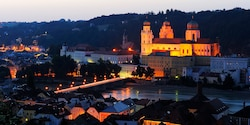 St. Stephen�s Cathedral in Passau, Germany is lit up at dusk