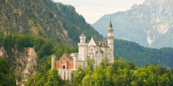 Neuschwanstein Castle stands amongst trees on a mountainside