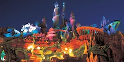 Mermaid Lagoon at Tokyo DisneySea is illuminated at night