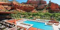 An aerial view of the Enchantment Resort in Sedona, Arizona