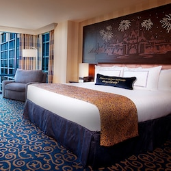 Spacious interior of Disneyland Hotel room with wide paths for wheelchair access