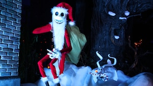 Santa Jack Skellington as Sandy Clause and Zero, his faithful ghost dog
