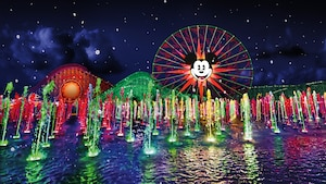 Paradise Pier and Mickey's Fun Wheel near fountains lit up with lights