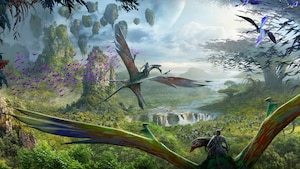 Conceptual artwork featuring a Na'vi riding on the back of a banshee at Pandora: The World of AVATAR