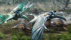 Na'vi people riding atop flying mountain banshees above a stampede of exotic creatures of Pandora