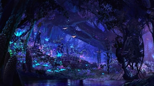 Conceptual artwork featuring a variety of bioluminescent wildlife at Pandora: The World of AVATAR