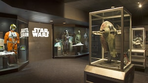 Models of spaceships and assorted costumes of heroes and villains from different 'Star Wars' films