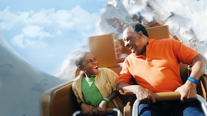 A father and son ride Expedition Everest - Legend of the Forbidden Mountain