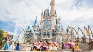 Mickey, Minnie, Donald, Daisy, Dingo et d'autres personnages posent pendant le Mickey's Royal Friendship Faire