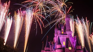 Fireworks bursting above Cinderella Castle during Wishes nighttime spectacular at Magic Kingdom park