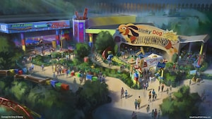 Conceptual art featuring the entrance of the Slinky Dog Dash roller coaster at the upcoming Toy Story Land