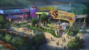 Arte conceptual con la entrada de la montaña rusa Slinky Dog Dash en la próxima Toy Story Land