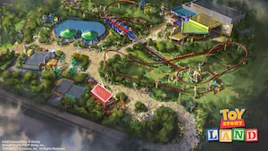 Conceptual art offering an overhead view of the upcoming Toy Story Land in Disney's Hollywood Studios