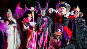 A group of Disney villains includes Cruella de Vil, Captain James Hook, the Evil Queen and the Queen of Hearts