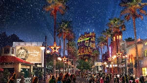 Arte conceptual de nieve cayendo durante Sunset Seasons Greetings en Disney's Hollywood Studios