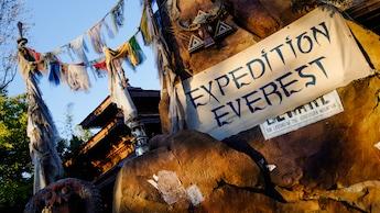 Un anuncio de Expedition Everest sobre un muro de piedra junto a banderas himalayas que cuelgan de sogas