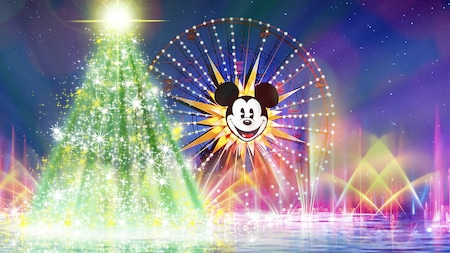 An illuminated Christmas tree and Mickey's Fun Wheel amid erupting fountains