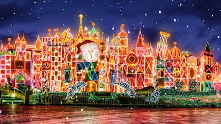 It's a small world lit up with Christmas lights