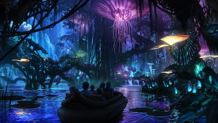 Conceptual artwork featuring Guests riding down a bioluminescent waterway aboard Na'vi River Journey