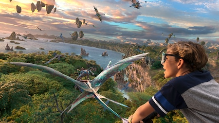 A child smiles as flies in the sky with  Na'vi  and Mountain banshees above Pandora