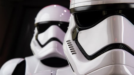 First Order Stormtroopers stand in formation at a 'Star Wars' experience in Disney's Hollywood Studios