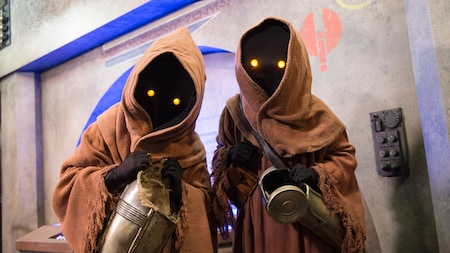 A duo of Jawas posing for a picture at a Character Greeting experience in Disney's Hollywood Studios