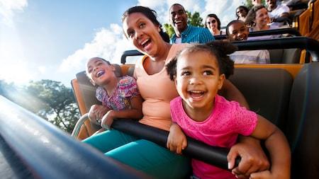Una familia sonríe en una montaña rusa
