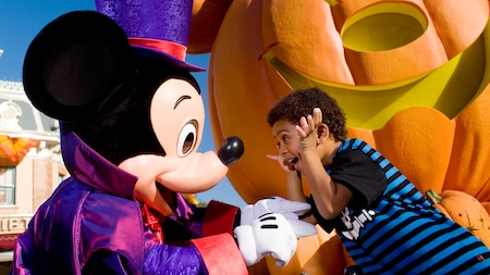 A Character Meet featuring Mickey dressed as a wizard and a young boy smiling with delight