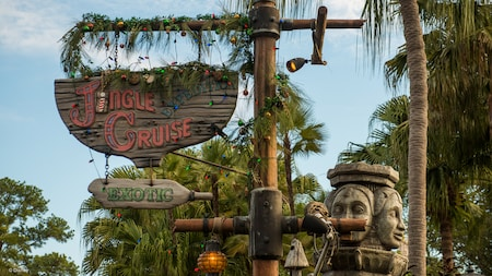 Signage for the Jingle Cruise, the holiday-themed experience of the Jungle Cruise in Adventureland