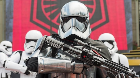 Captain Phasma stands guard in front of several First Order Stormtroopers at Disney's Hollywood Studios