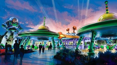 Imagen de Buzz Lightyear cerca de una sala de videojuegos repleta de gente