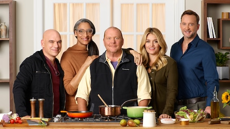 Daphne Oz, Clinton Kelly, Carla Hall, Mario Batali and Michael Zymon from the ABC TV show 'The Chew'