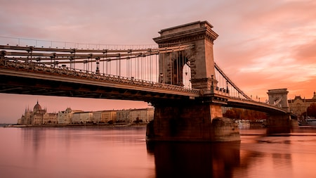 A large suspension bridge in Budapest, Hungary
